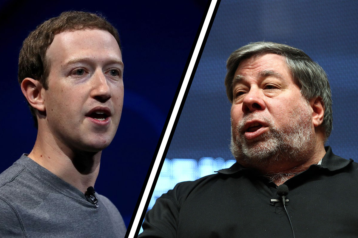 Facebook CEO, Mark Zuckerberg (left), Apple Co-Founder, Steve Wozniak (right). Wozniak just announced he has joined the #DeleteFacebook movement.