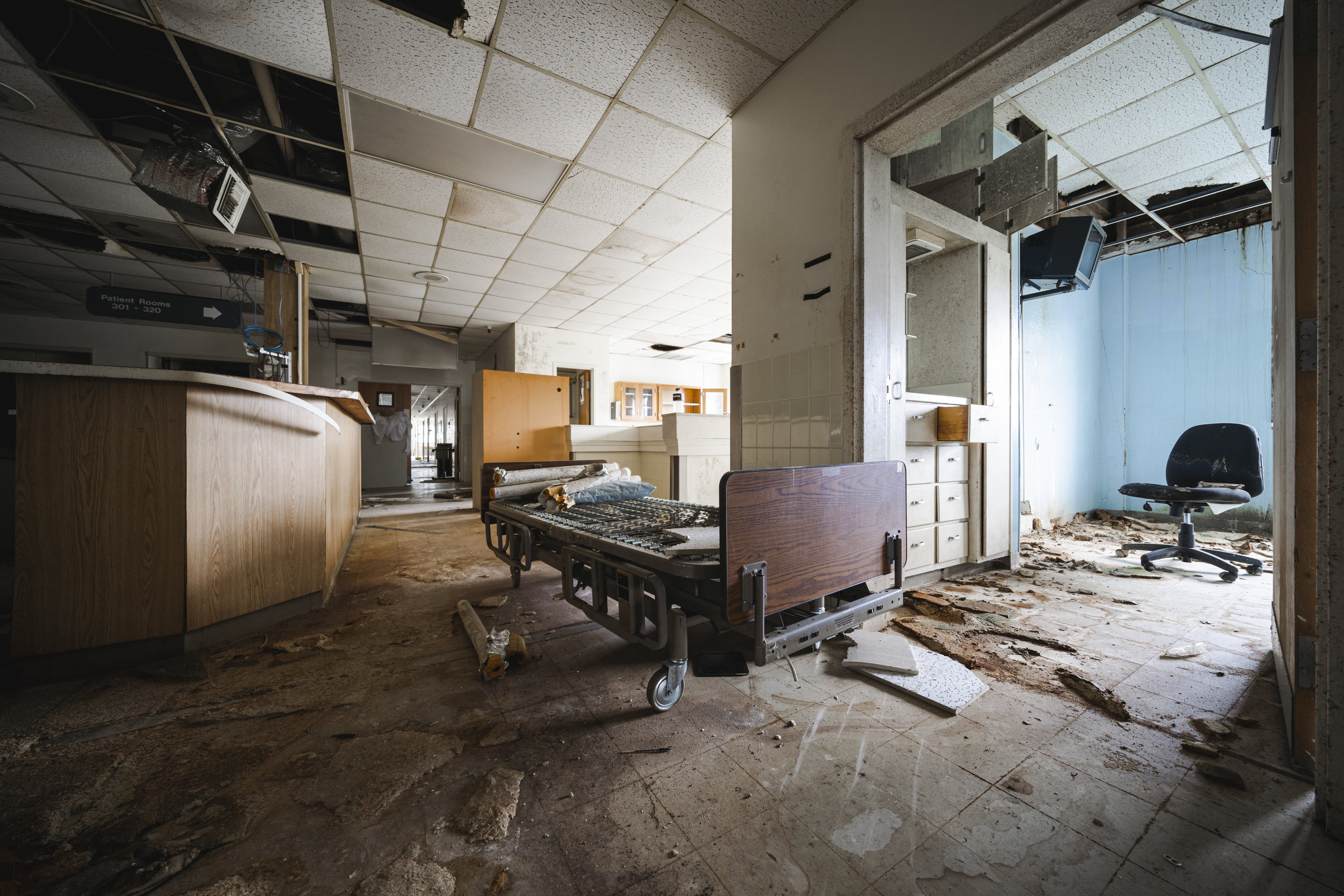 Hospital Bed in Hallway