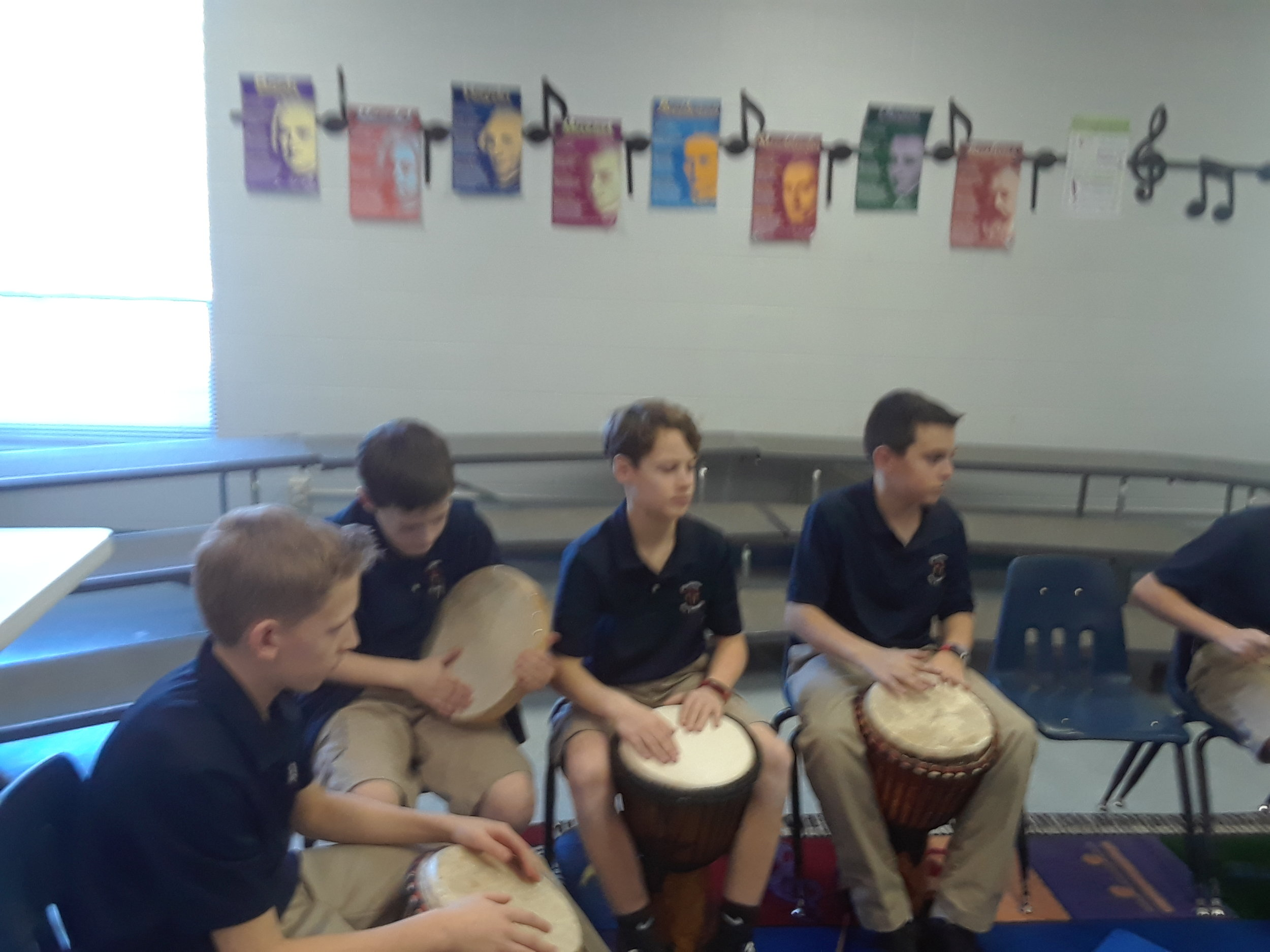 Pictures Enclosed- Sixth Grade Drums class.  They will be performing on Grandparent's Day Friday, February 16th.