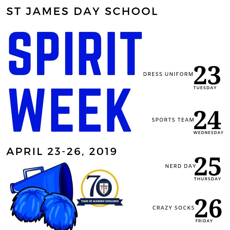 St James Day School Spirit Week April 23-26, 2019.png