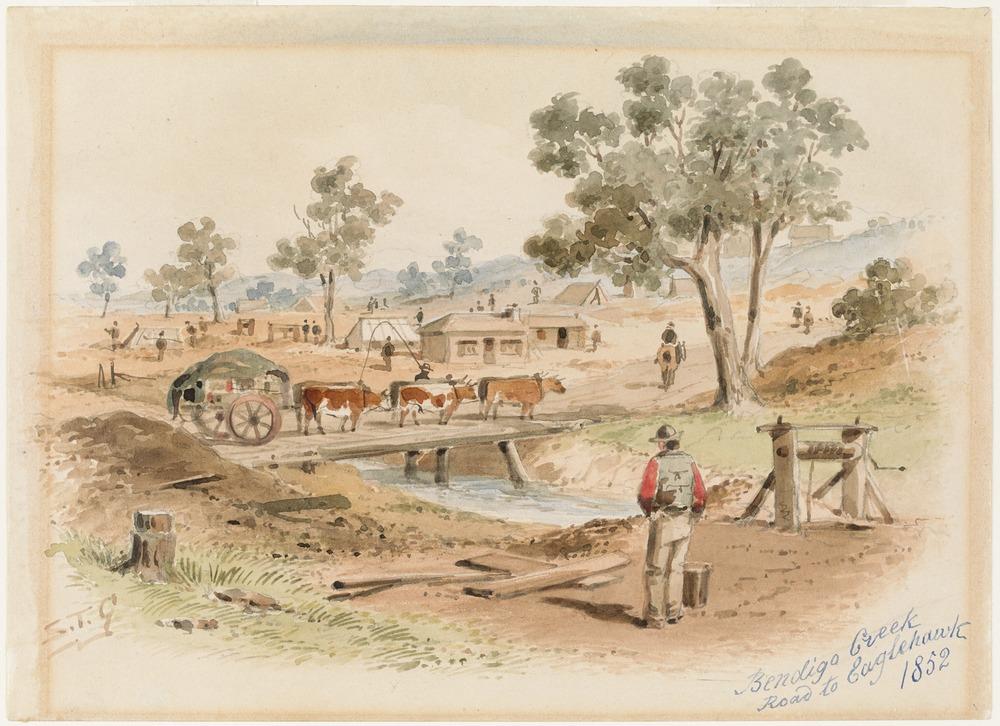 Bendigo Creek - Road to Eaglehawk, S. T. Gill (1872)