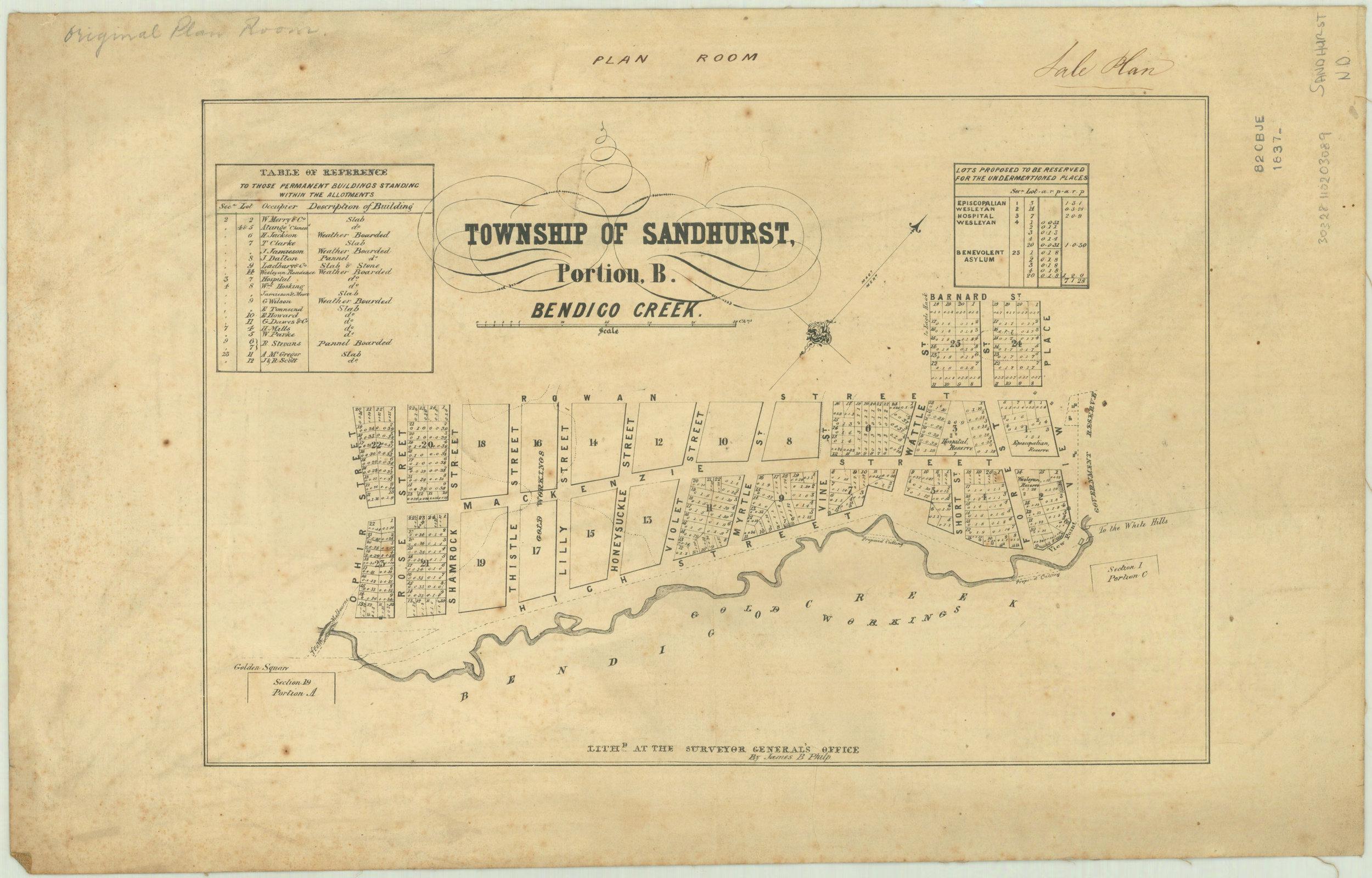 Township-of-Sandhurst,-portion-B,-Bendigo-Creek-[cartographic-material]-_-lith.d-at-the-Surveyor-General's-Office,-Melbourne,-by-James-B.-Philp.-1837.jpg