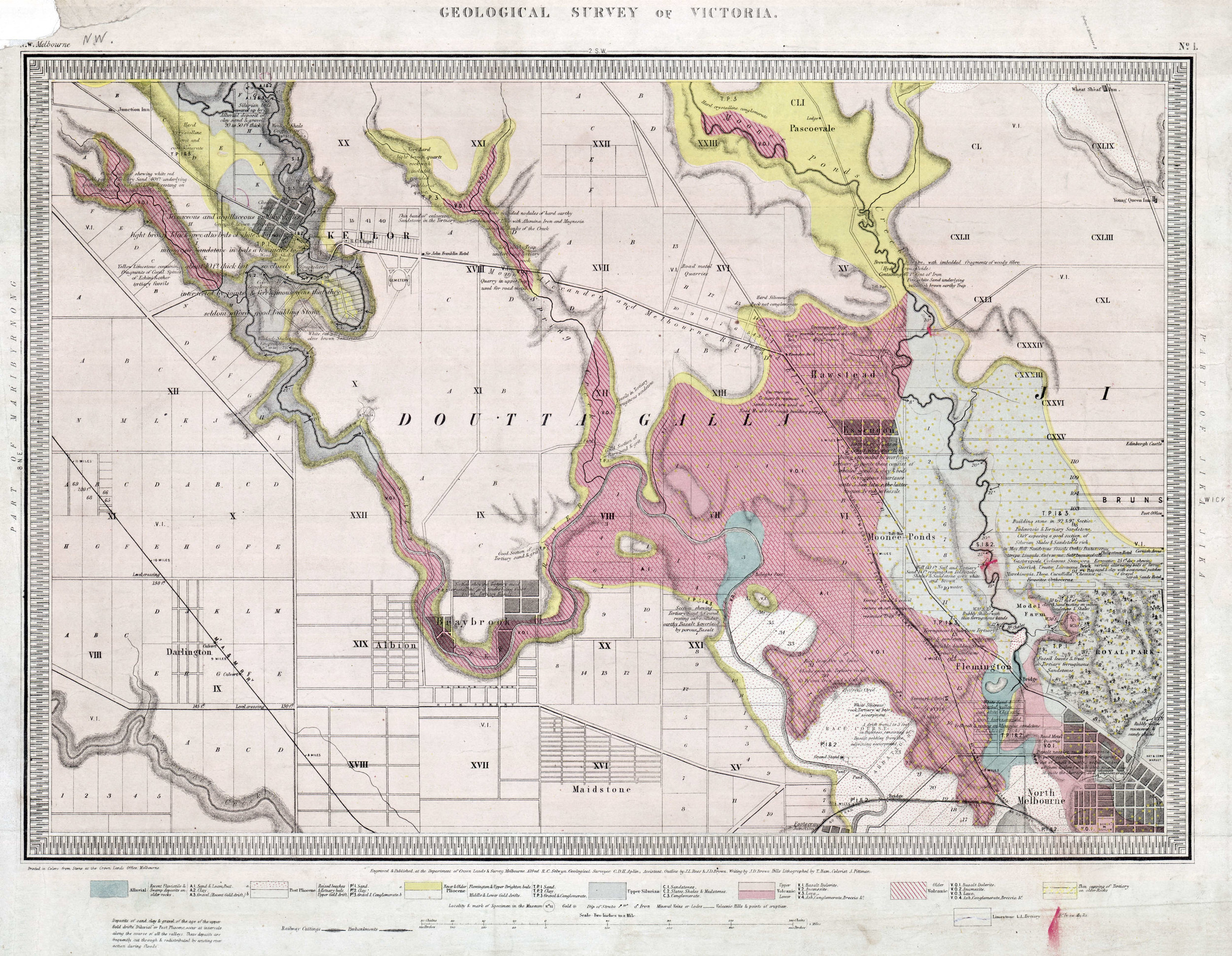 Geological Survey of Victoria., undated. Quarter Sheet 1 NW. 40 chains to 1 inch, geological map. Department of Mines, Victoria.