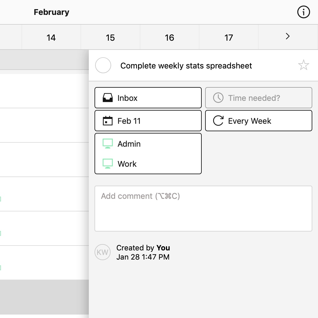 I have a weekly spreadsheet with different stats that I track in my business. This is the task in Nozbe that reminds me to update that spreadsheet every Monday.