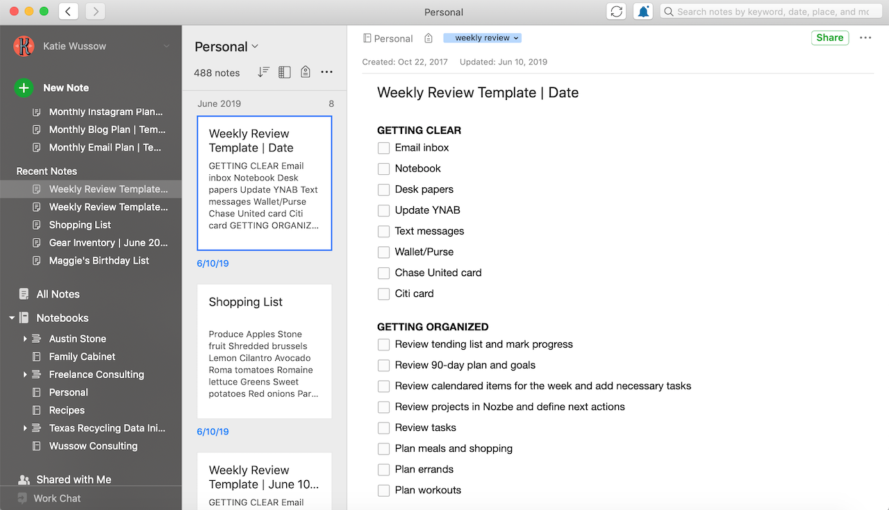 "This is my Weekly Review Checklist that I have created in Evernote. You can see that I have it saved in my ""shortcuts"" section in order to make it easy to find when I do my Weekly Review on Sunday nights."