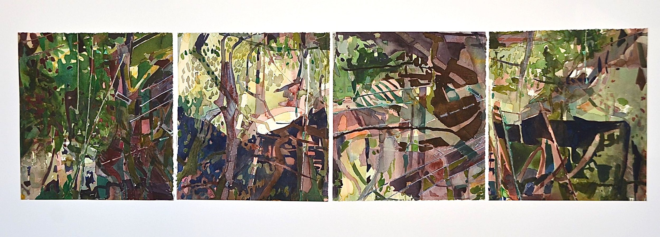 """Urban Forest""-  each panel 32x38cm- watercolour on paper- 2018   $600 each: framed size 46cmx52cm"