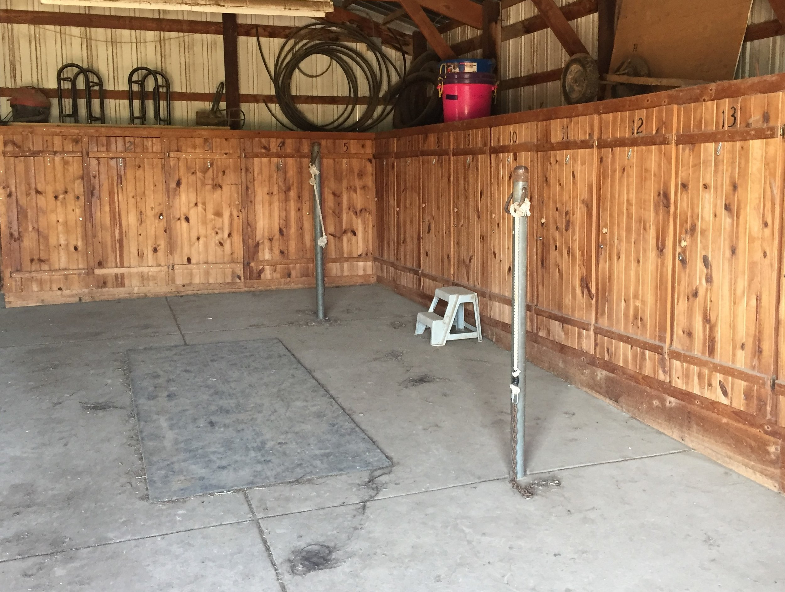 Tack Lockers and Grooming Area