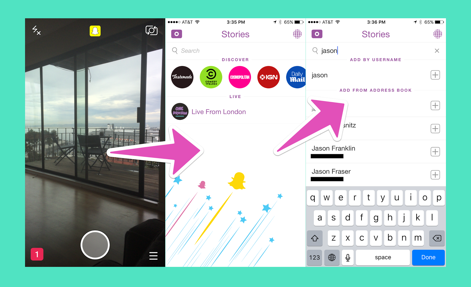 """Snapchat could use some user testing to improve its usability. For example, figuring out how to add a friend or contact is quite challenging because of the hidden CTA. A user has to begin typing on the search bar on the right-hand screen to be presented with users they can add from the Snapchat directory (or their address book). A Plus (+) button or """"Add friends"""" CTA would help with discoverability."""