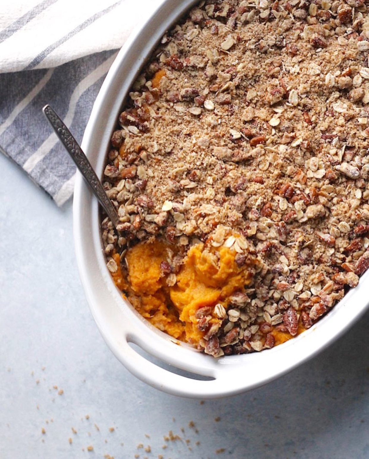 Vegan Sweet Potato Casserole - This casserole looks incredible. What is a Thanksgiving dinner with out some sweet potato love?!I love following @hummusapien for her tasty recipes, and of course, her Columbus pride! If you haven't checked out Alchemy Juice Bar or TRISM - you're missing out!Recipe:https://www.hummusapien.com/vegan-sweet-potato-casserole/