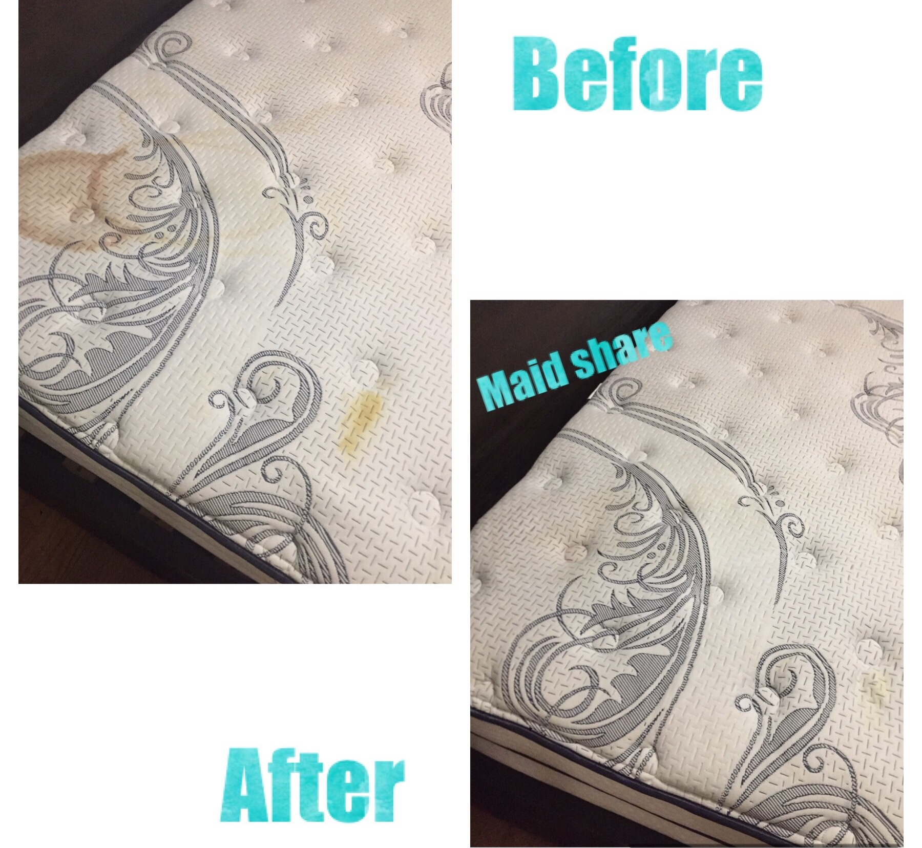 Mattress Sanitize + Stain Removal  Maid Share uses Steam to clean not only remove stains but to also sanitize your mattress. For a Eco friendly, all natural green cleanng