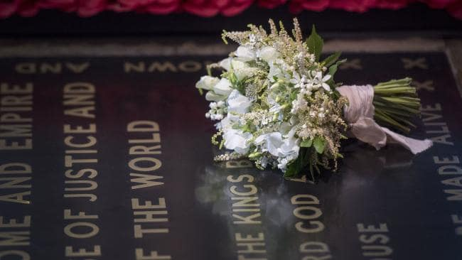 Photo: The bouquet placed on the grave of the Unknown Warrior inside Westminster Abbey in London. Photo credit: Getty Images