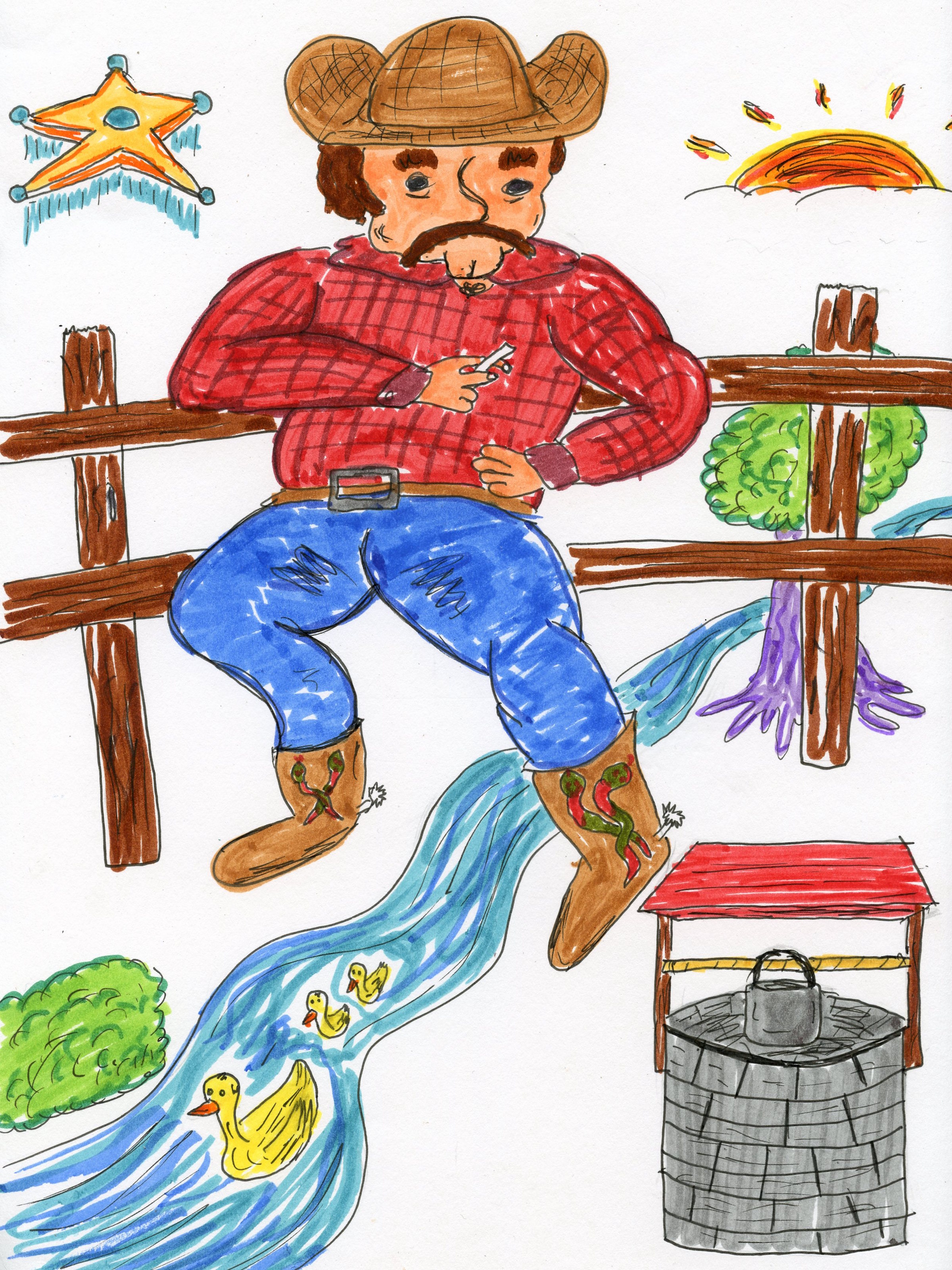 Jordan Hebert •Bucks County, PA   This drawing is a portrait of Pete Blister. Paul Bunyan's cousin of the west. He's the undeclared caretaker of the land. He put his life on the line to protect the needs of all things natural and asked for nothing in return.
