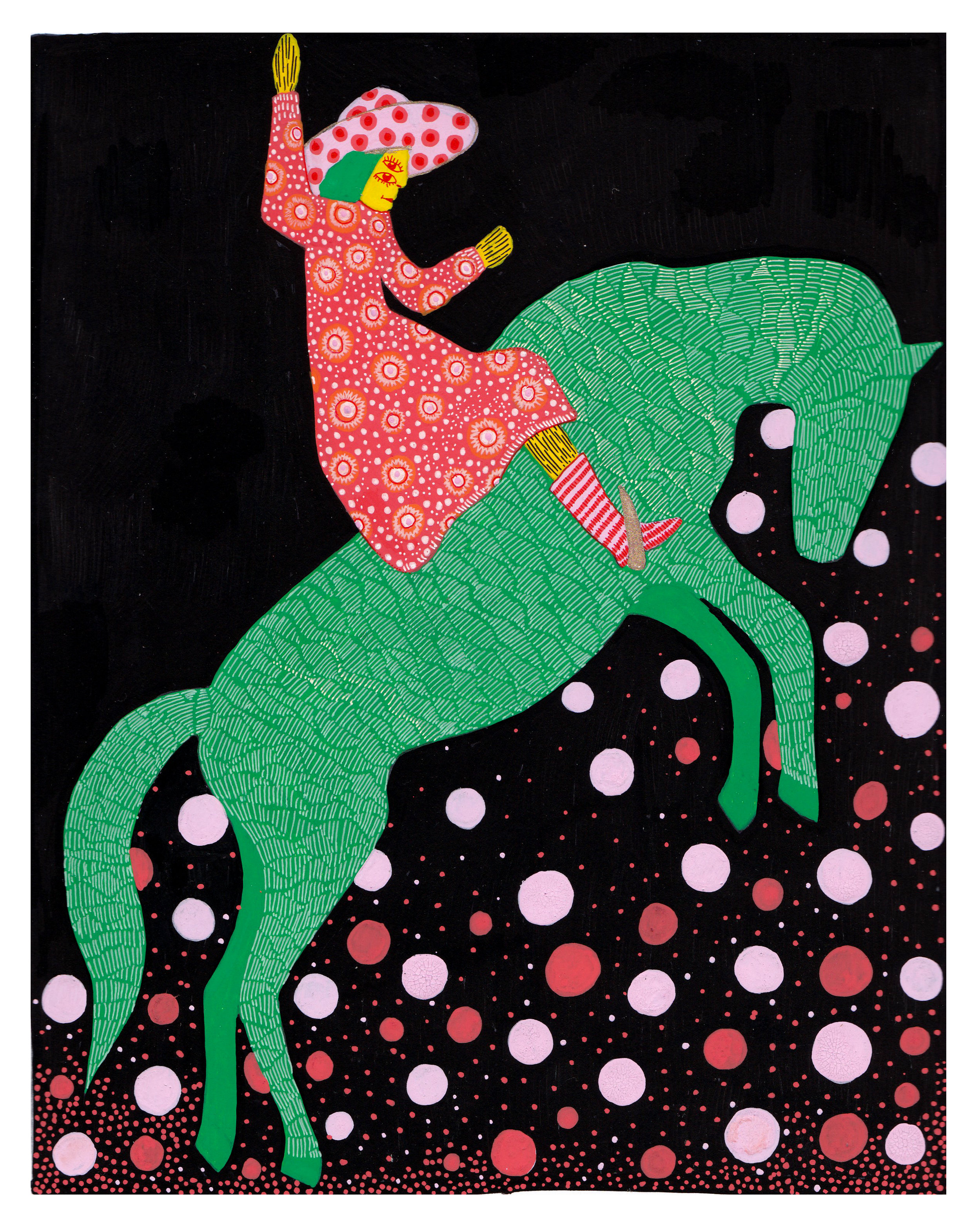 Kami Baergen  •Seattle, WA  @kbaergen   I grew up watching a lot of westerns and most of the women depicted were damsels in distress, or cute housewives, so I've become interested in finding the independent women of the west. This piece is inspired by Dorothy Morrell, a championship rodeo rider.