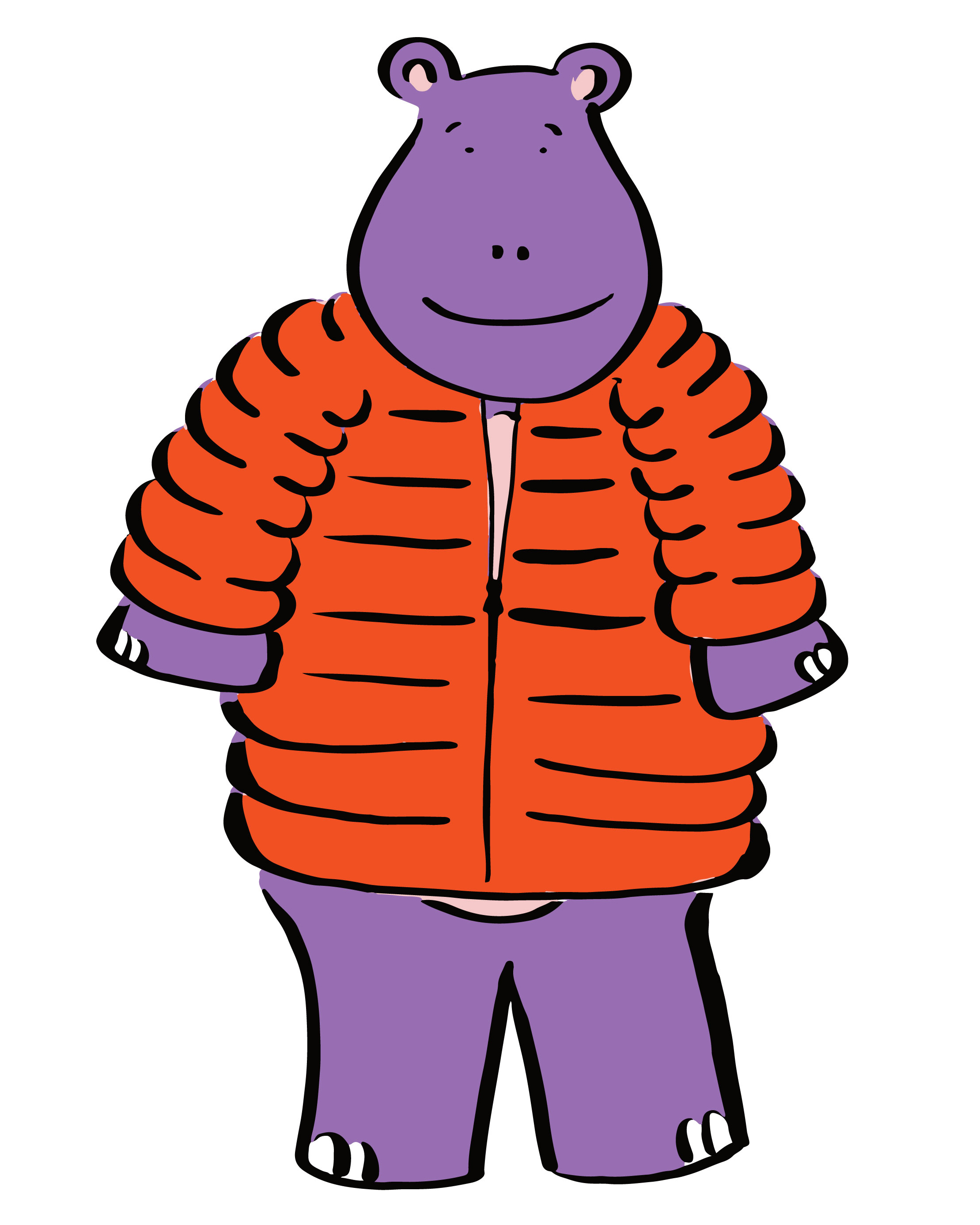"""Cara Harris • Nashville, TN   @caralouise_id    This is a character I've been developing: Hilary the Hippo. Hilary is a fun-loving hippo who learns life lessons and experiences emotions just like people do. When seeing the prompt """"puff"""" it occurred to me that Hilary in a puffy jacket would both be hilarious and probably cute."""