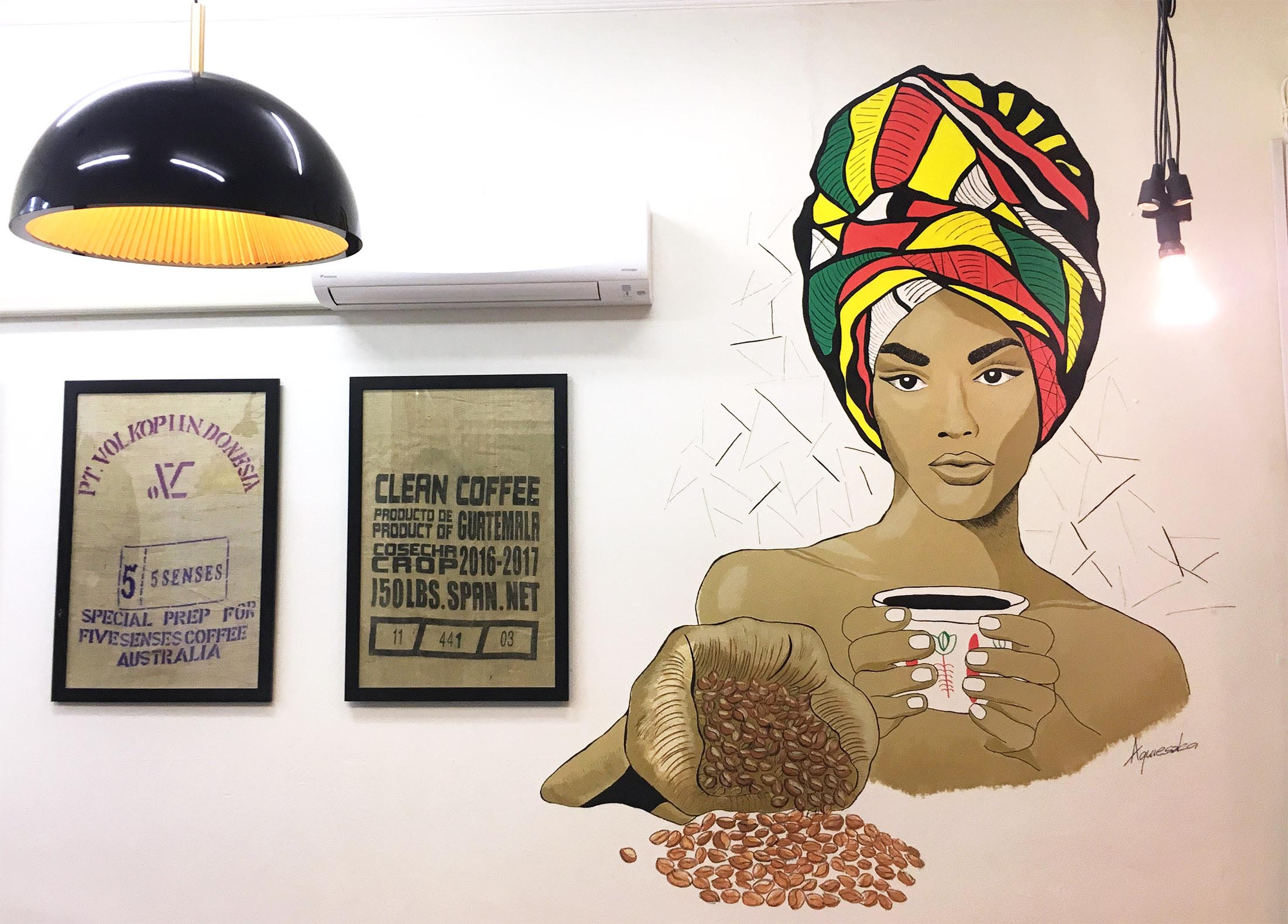 Sweetbrew Coffee Shop, Launceston   Ethiopian Beauty wall mural for a new cafe extension.