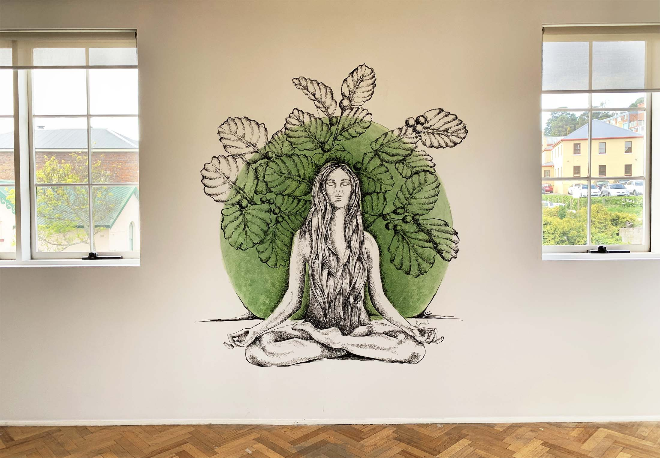 The Yoga Loft, Launceston   The old Hot Body Yoga has a new branding and some special artwork in the studio.