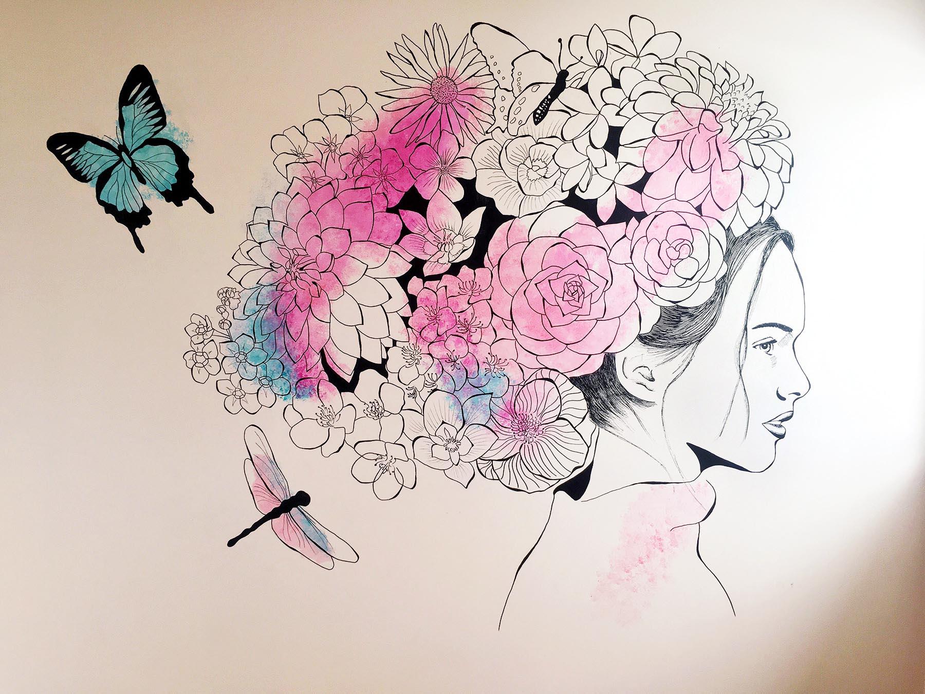 Flower Girl   Mural for little girls' room in Launceston.