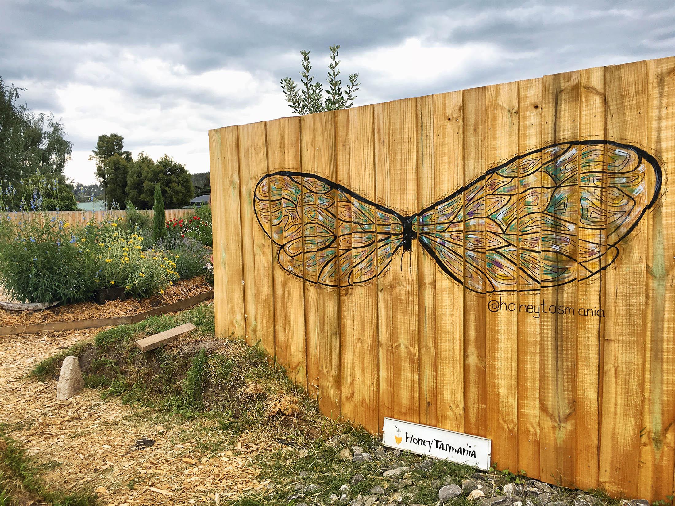 Honey Tasmania, Exeter, Tasmania   A fun and colourful bee wing mural for a beautiful honey shop at Exeter, Tasmania.