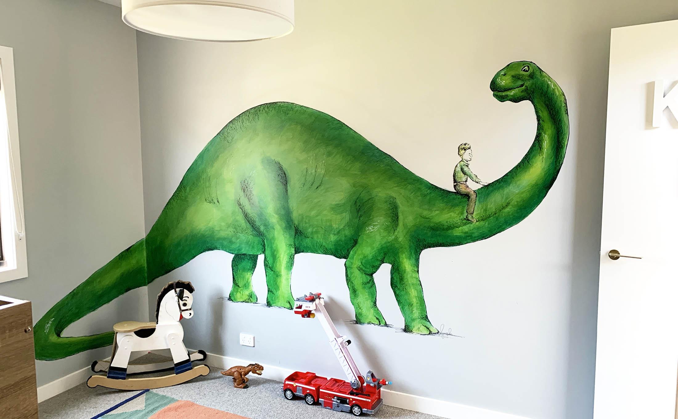 Dinosaur Mural, Relbia, Tasmania   A dinosaur mural for little boys new bedroom.