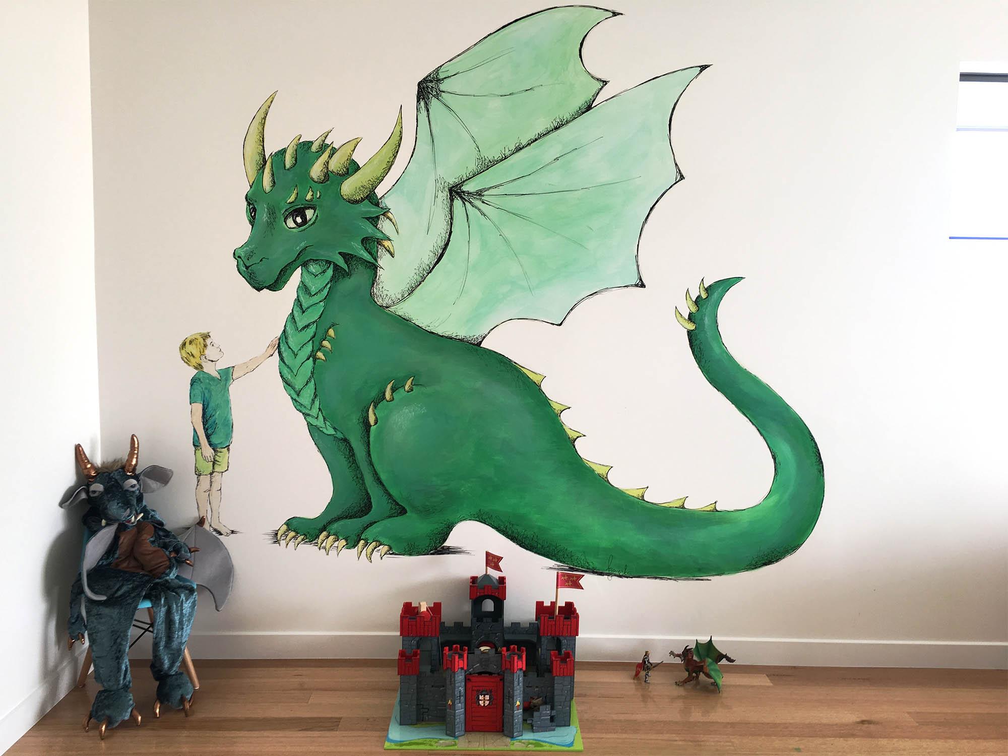 Dragon Mural, Hobart, Tasmania   A dragon mural for little boy's new bedroom.