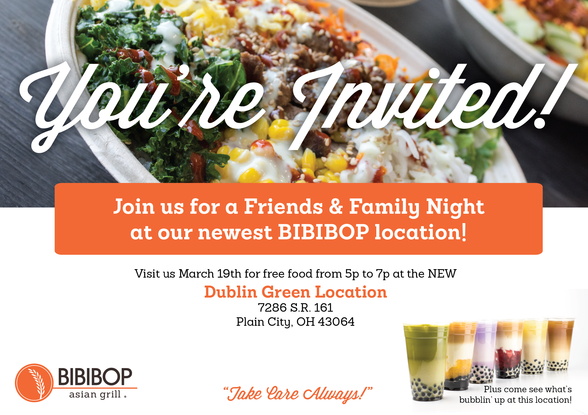 Friends and Family invitation for the preview night, first introduction to BIBIBTEA products