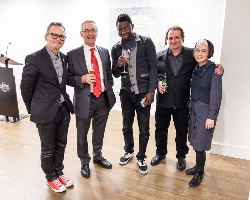 JOHN ASLANIDIS: SONIC SERIES 2005–2011,   a survey of recent works at the     Australian Consulate-General, New York, Nov–Dec 2016. John is pictured 2nd from right.