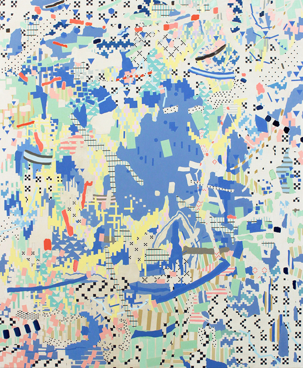 VIV MILLER is a finalist in the Geelong Contemporary Art Prize with  Enter 2015, oil, enamel, acrylic and pencil on canvas, 180 × 150 cm.Geelong Art Gallery, 10 Sept – 13 Nov 2016
