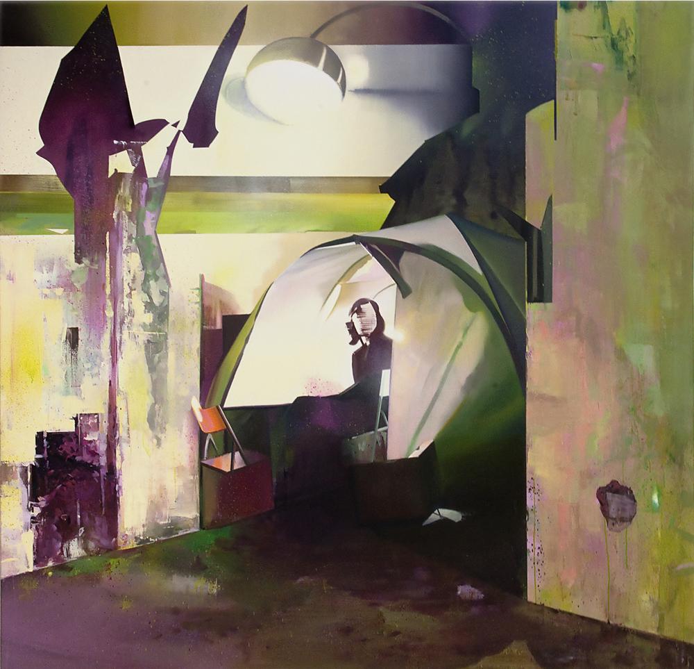DAVID RALPH  Camp Site  2014 oil on canvas 190 × 200 cm