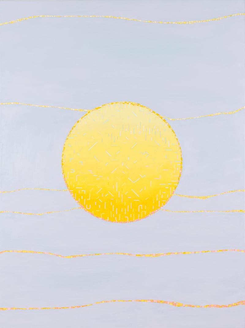 VIV MILLER  Circle sun  2013 oil, enamel and pencil on canvas 80 ×60 cm