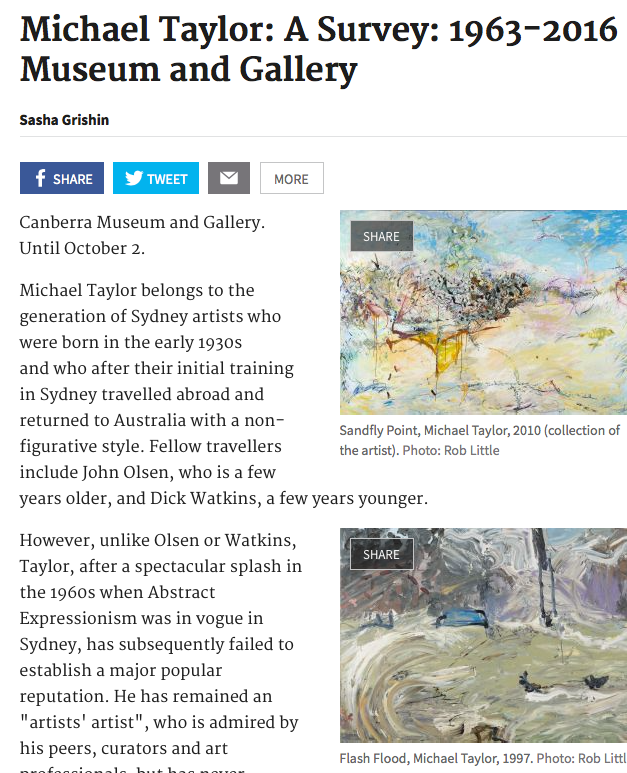 Read  MICHAEL TAYLOR  reviewed by Sasha Grishin in  The Canberra Times , 18 July 2016