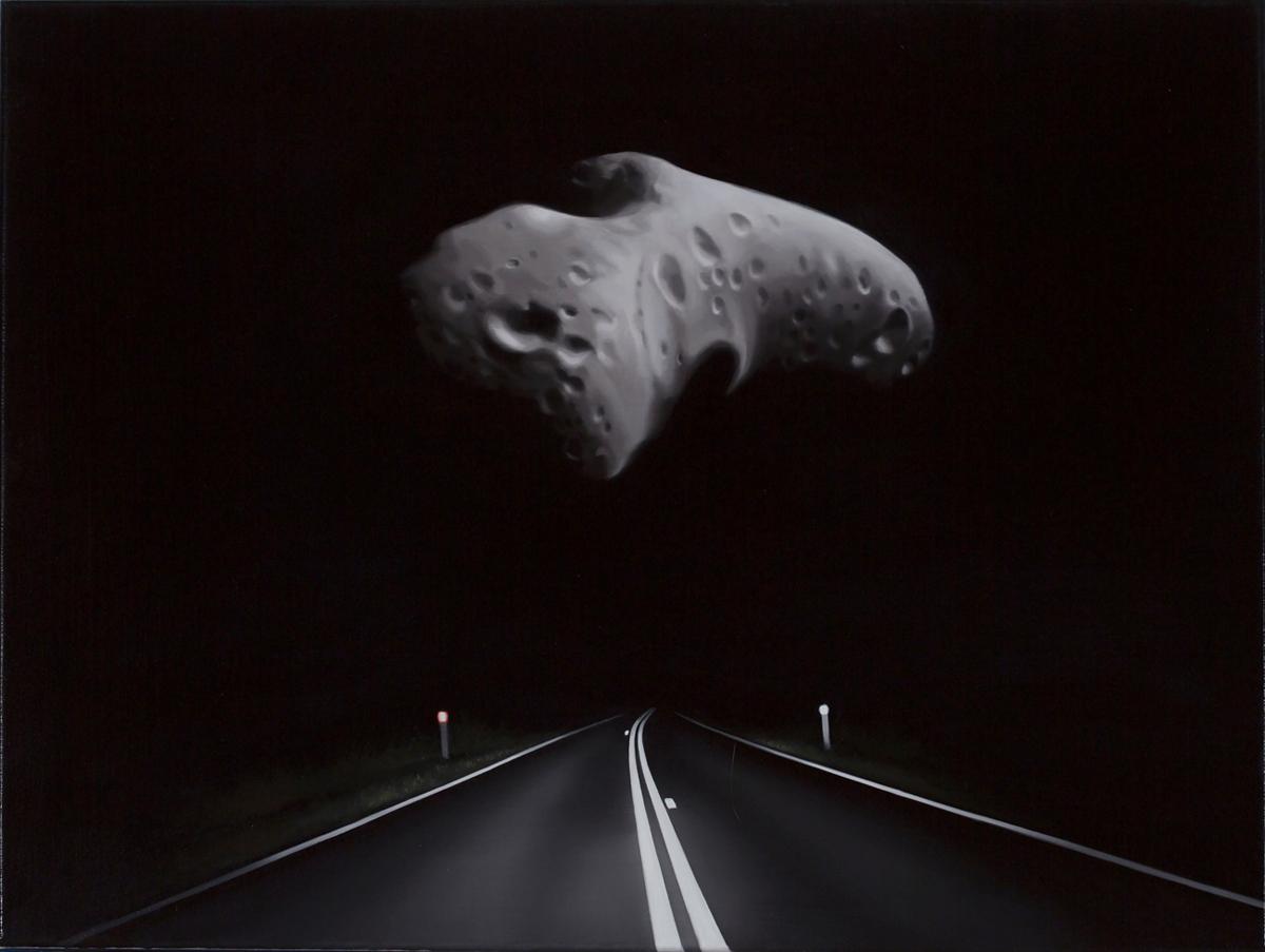 TONY LLOYD  Near Earth asteroid with highway (Eros)  2017 oil on linen 45 × 61 cm