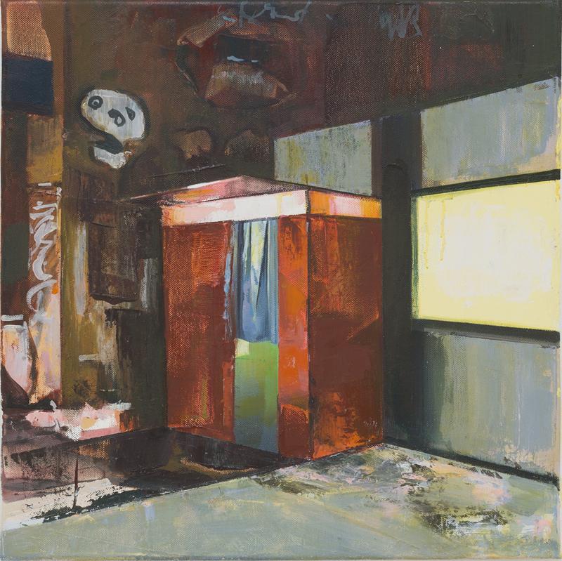 DAVID RALPH  Photoautomat  2017 oil on canvas 40 × 40 cm
