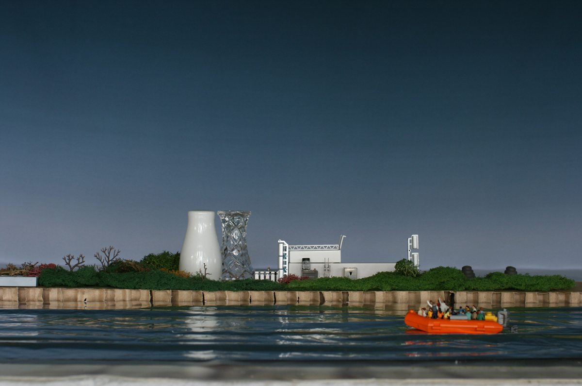 ELAINE CAMPANER  Amsterdam III (lifeboat)  2017 pure pigment inks on 100% cotton rag 55 × 83 cm