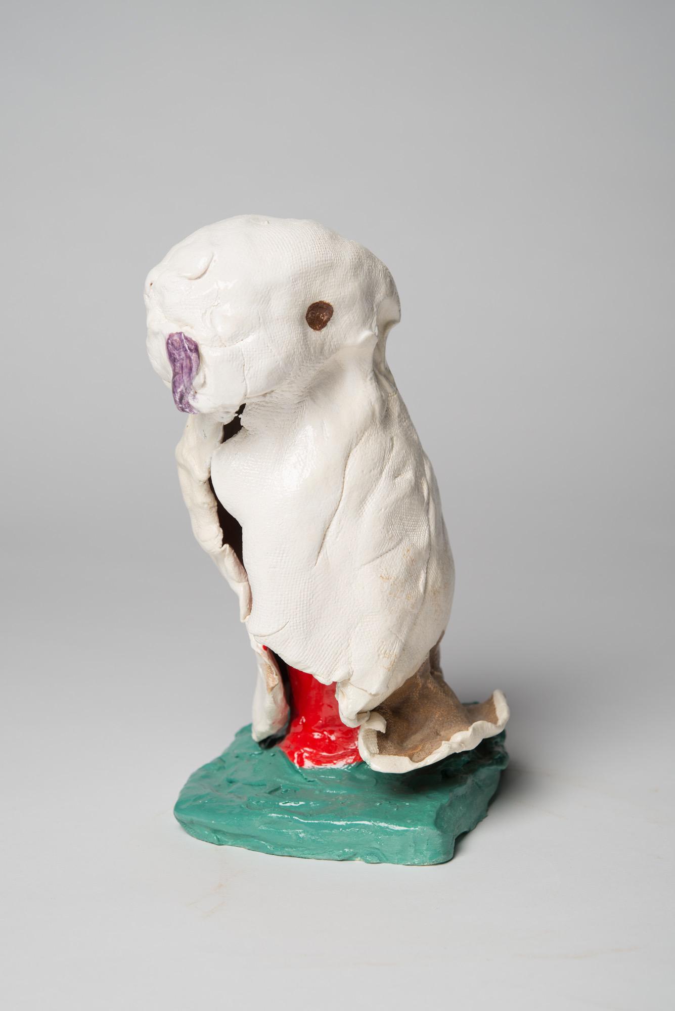 PIE RANKINE  A kookaburra: white state  2015 clay, glaze 25 × 10 × 10 cm