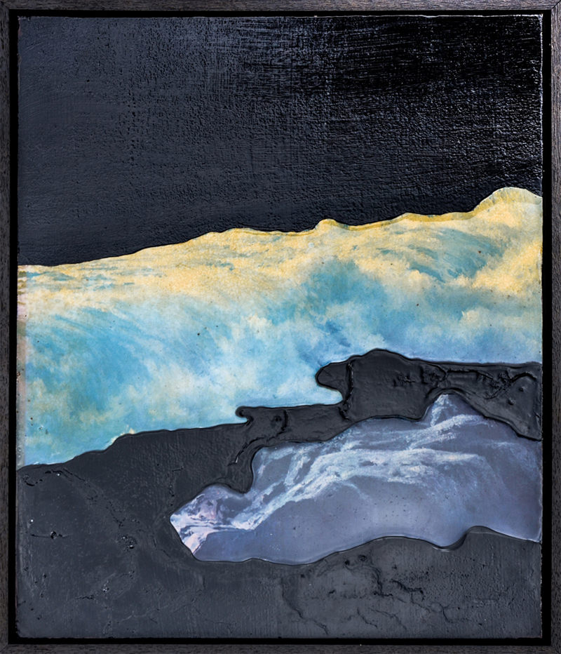 ELOISE KIRK  Deep Dark 2  2015 collage, resin, acrylic, pigment, and binder 35 × 45 cm