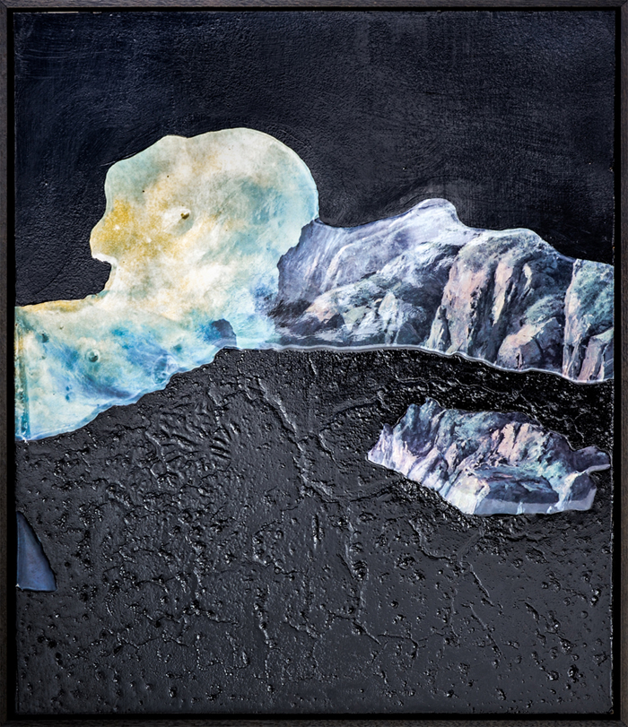 ELOISE KIRK  Deep Dark  2016 collage, resin, acrylic, pigmet and binder 62 × 52 cm