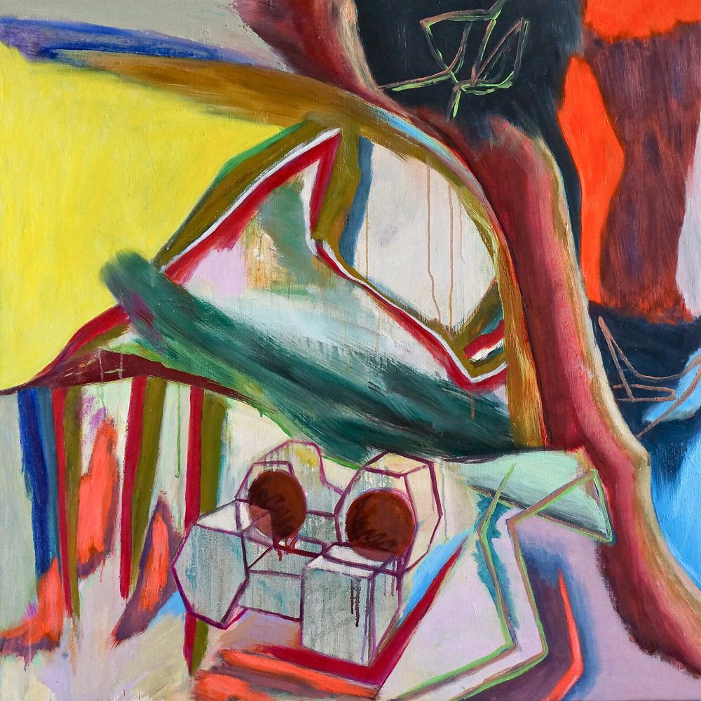 DAVID PALLISER  Entangled Block  2016 oil on canvas 90 × 90 cm