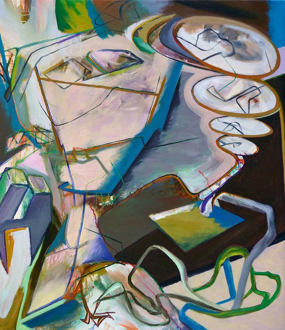DAVID PALLISER  Wayside Travel Dispute  2016 oil on canvas 112 × 97 cm