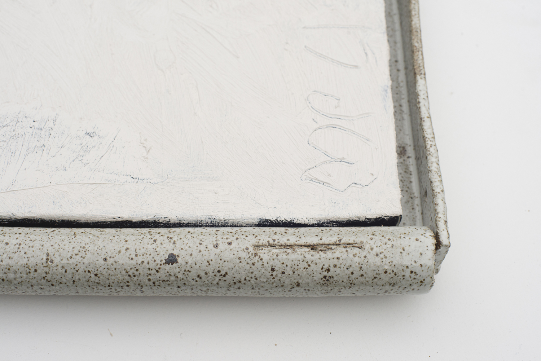 JAKE WALKER  #0047  (detail)2016–17 acrylic on linen, glazed stoneware frame 50 ×46 cm