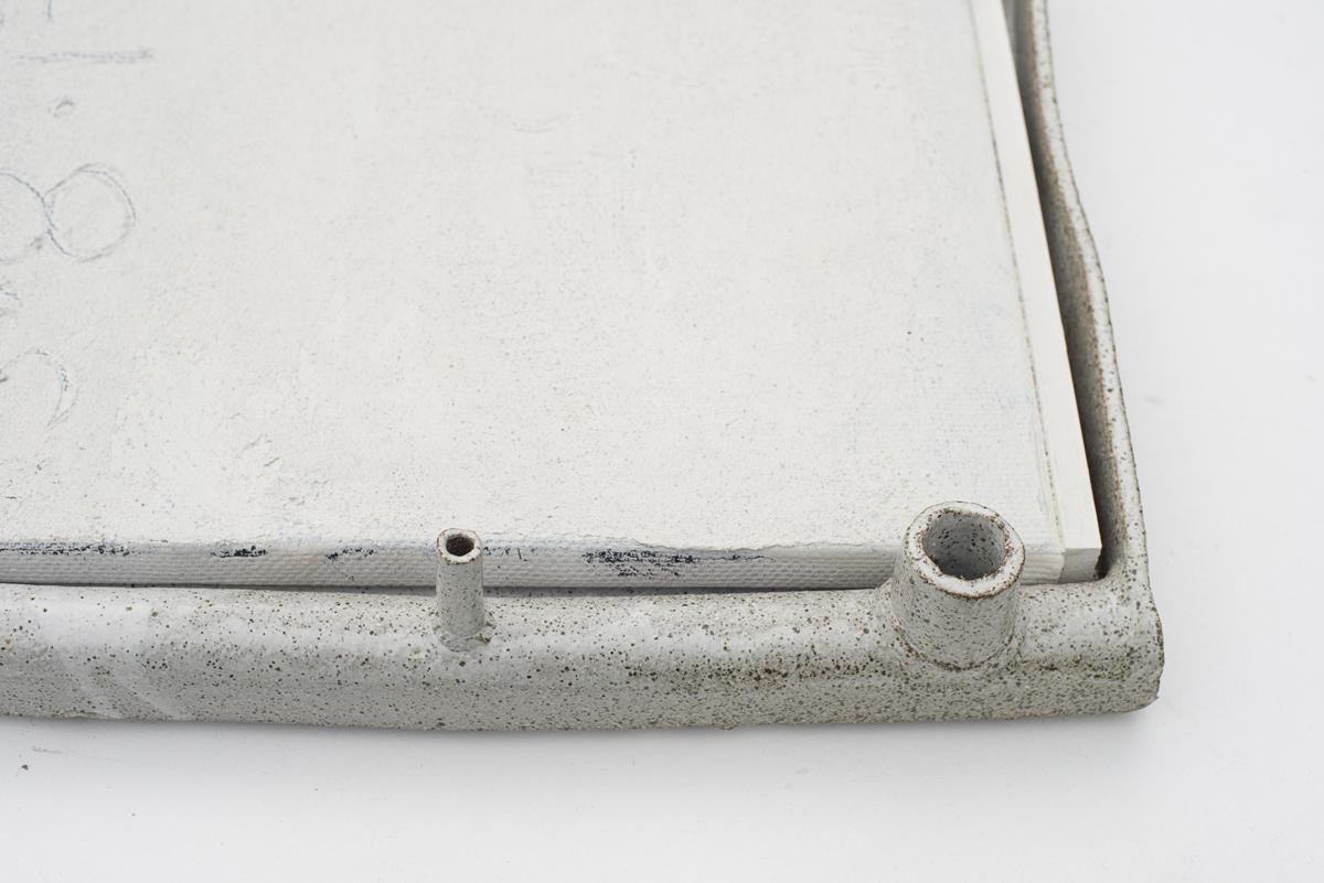 JAKE WALKER  #0051  (detail)  2016–17 acrylic on linen, glazed stoneware frame 43 ×47.5 cm