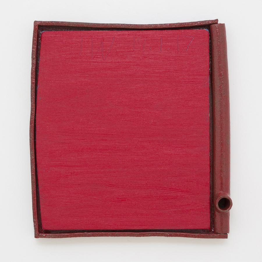JAKE WALKER  #0021  2016–17 oil on linen mounted on board, glazed stoneware frame 42 × 38 cm