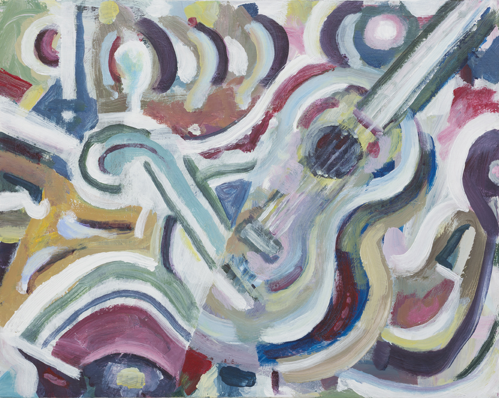 SIMON BLAU  Music Room  2015 acrylic on board 40.5 × 51 cm