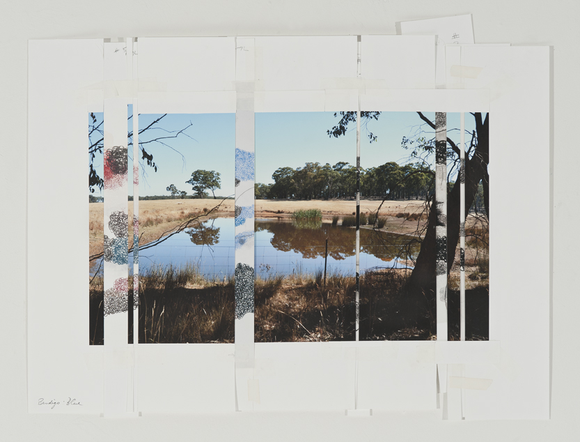 DENISE GREEN  Bendigo Blue  2015  one photograph and six drawings  46.7 × 60.5 cm