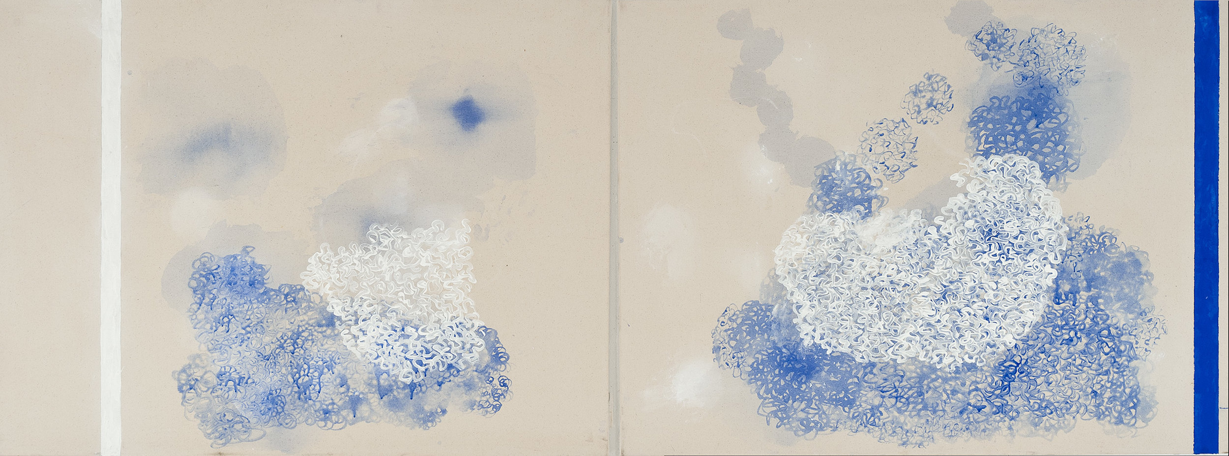 DENISE GREEN  Anchor / Blue Subjectivity  2014 acrylic and pencil on canvas 91.5 × 244 cm