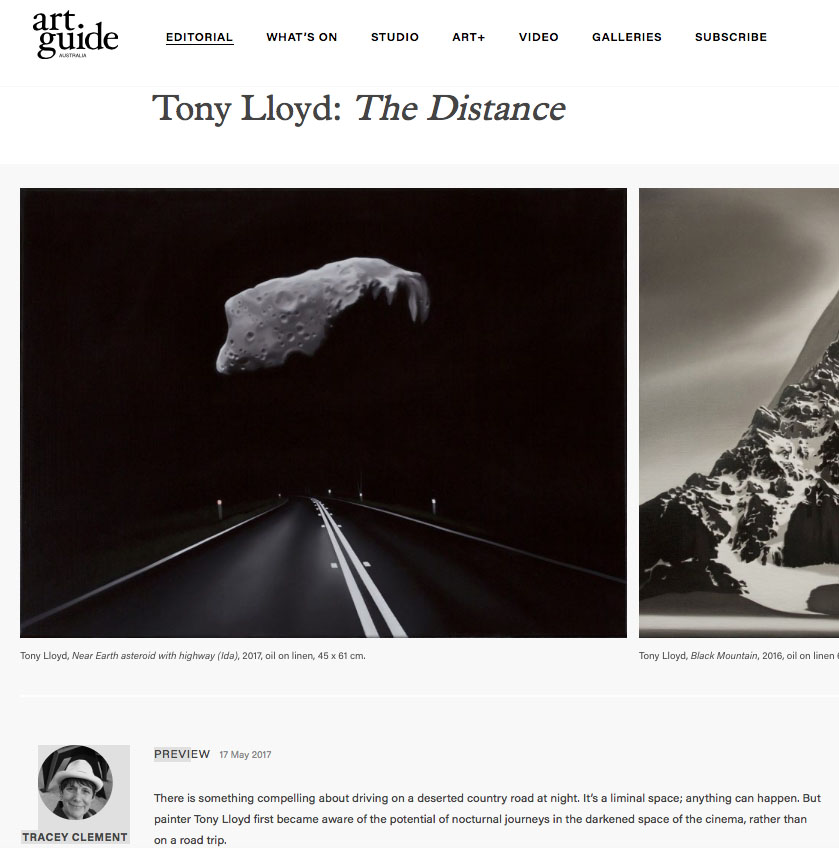 Read  TONY LLOYD'S exhibition preview in the May 2017 issue of  Art Guide Australia .