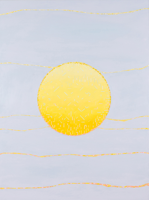 VIV MILLER  Circle sun  2013 oil, enamel and pencil on canvas 80 × 60 cm