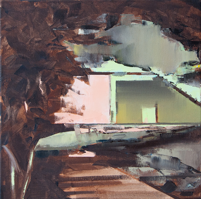 DAVID RALPH  Demolition  2014 oil on canvas 40 × 40 cm