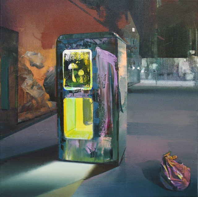 DAVID RALPH  The Final Phonebox  2013 oil on canvas 40 × 40 cm
