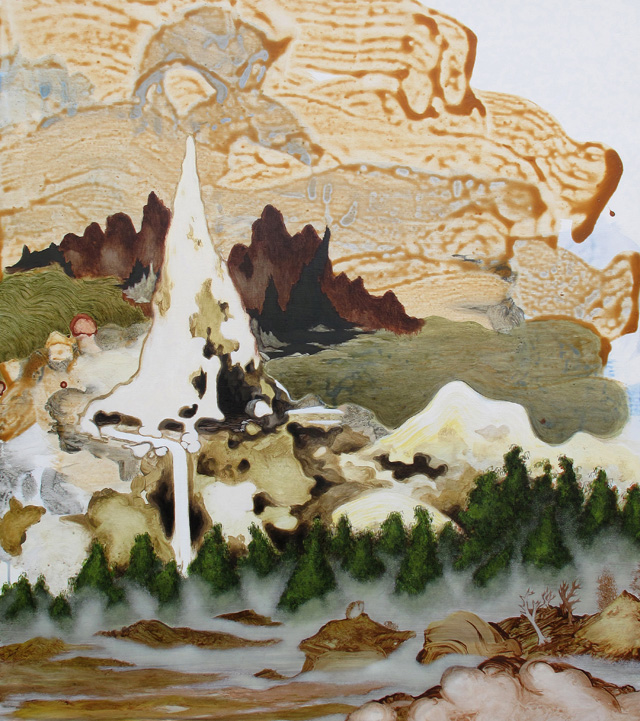 MARK RODDA  Eroded Hills, Misty Valley  2013 acrylic and oil on marine ply 119 × 105 cm