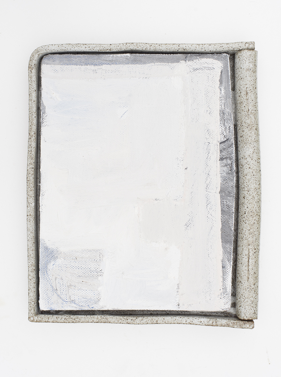 JAKE WALKER  #0029 (OhakurI Dam)  2016–17 oil on linen, glazed stoneware frame 50 × 41 cm